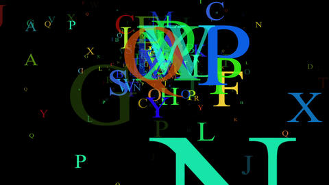 Alphabet, isolated on black background, loop Animation