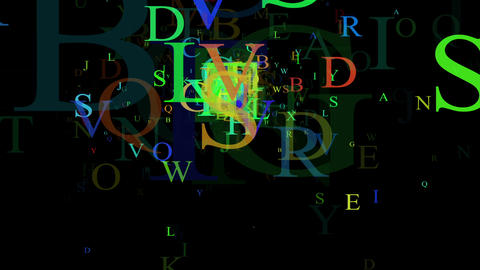 Alphabet, isolated on black background, loop Stock Video Footage