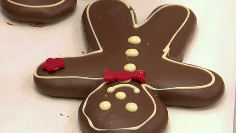 Confectioner Decorate Gingerbread Man Marzipan 10805 stock footage