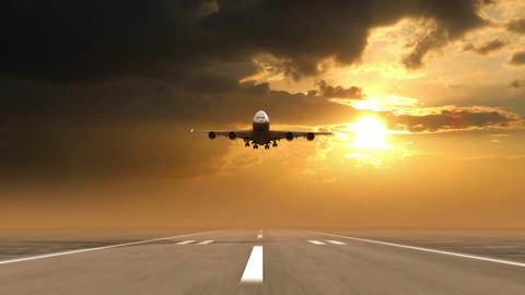 airplane landing against sunset background Animation