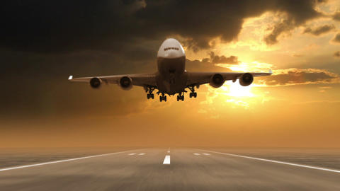 airplane landing against sunset background Stock Video Footage
