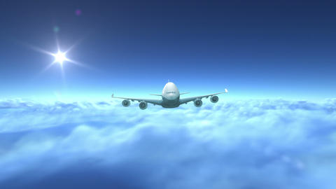 Airplane flying over clouds Stock Video Footage
