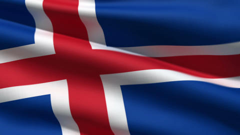 Iceland flag Stock Video Footage