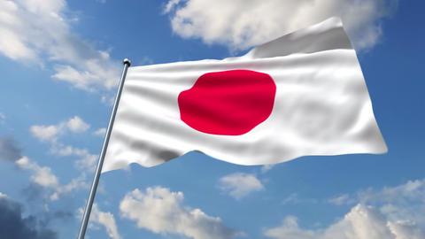 Japanese flag Stock Video Footage