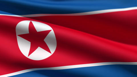 North Korean flag Stock Video Footage