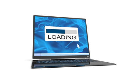 laptop has broken down when loading is finished Stock Video Footage