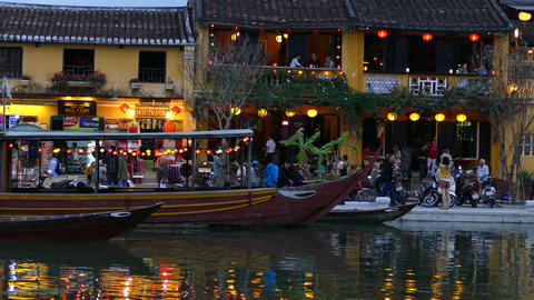 The thu bon river side during evening in the Old town of Hoi An Footage