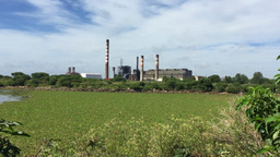 Factory Pollution In The Middle Of A Ecologic Reserve stock footage