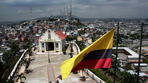 Guayaquil Flag and Church Footage