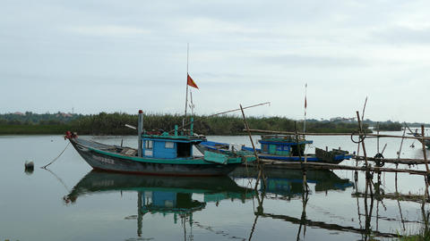 Fishing boats in the morning Footage