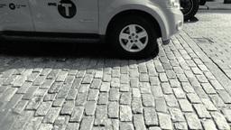 Black and white clip of classic new york cobblestone Footage