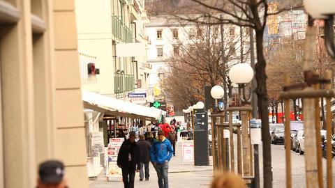 Swiss People on road street market Footage