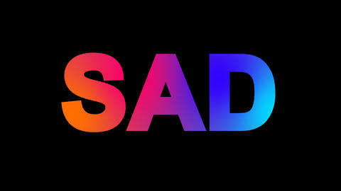 text SAD multi-colored appear then disappear under the lightning strikes Animation