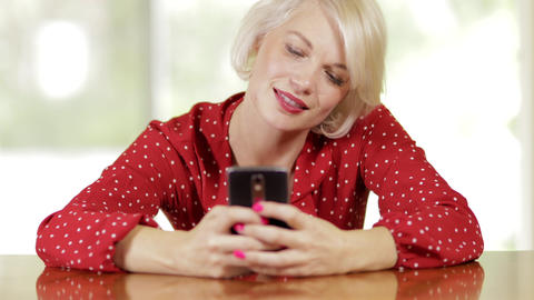 Attractive Woman Messaging On Her Phone Footage