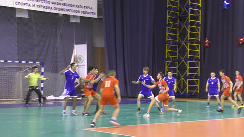 Orenburg, Russia - 11-13 February 2018 year: boys play in handball Image