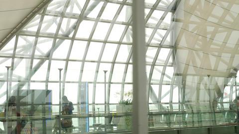 Interior terminal of Bangkok airport Footage