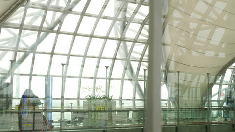 Interior terminal of Bangkok airport Stock Video Footage