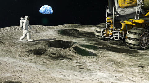 Astronaut on the moon returns to his moon Rover after the exploration of the Animation