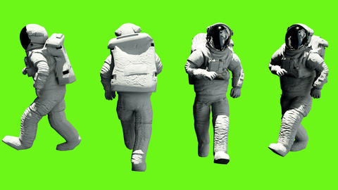Fun astronaut walking. Loopable animation on green screen. 4k CG動画素材