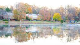 Timelapse of sunrise on Braddock lake in Burke, Virginia, USA, Fairfax county Footage