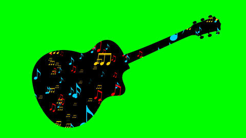 Black guitar silhouette and flying colored musical notes in the Black guitar Animation