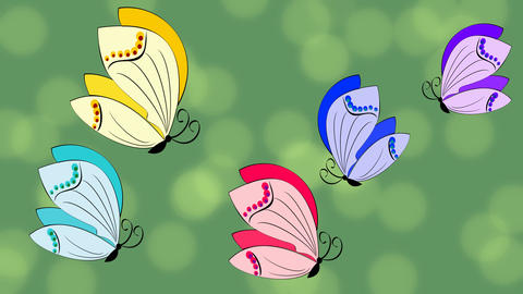 Butterfly animation. Multicolored butterflies hovering on green background with CG動画素材