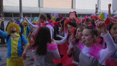 Xanthi, Greece Carnival parade participants marching in costumes 画像