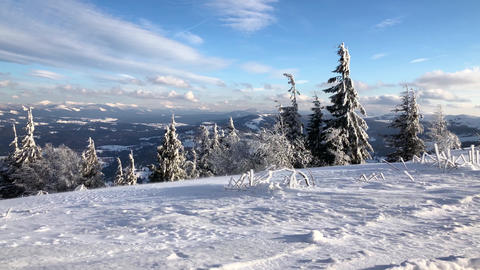Carpathian mountains covered with snow and strong wind. Clear frosty weather Footage