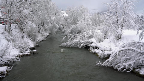 Winter mountain river surrounded by trees and banks of snow-covered Footage