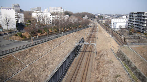 (Time Lapse) Railways in the suburb of Tokyo Footage