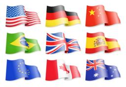 Waving flags of popular countries on a white background Vector
