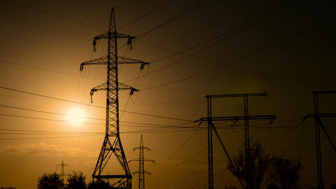 High-voltage power lines at sunset Footage