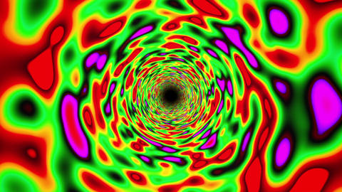 Green Vibrant Colorful Straight Endless Fractal Tunnel Slow CG動画素材