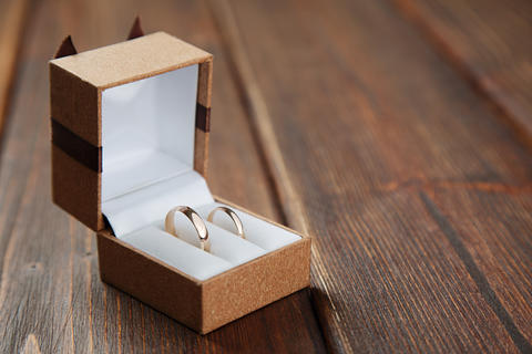 Golden wedding rings in the box Photo
