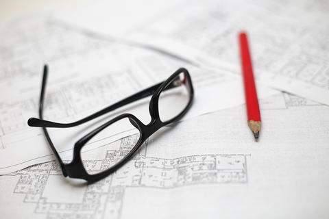 Architectural plans of the old paper フォト