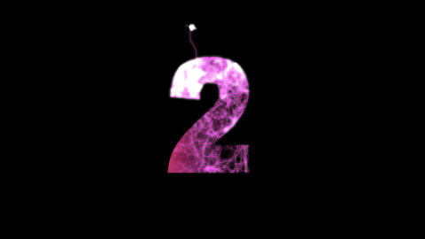 arabic numerals 2 multi-colored appear then disappear under the lightning Animation