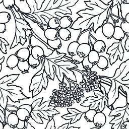 hawthorn seamless pattern Vector