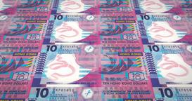 Banknotes of ten dollars of Hong Kong rolling, cash money, loop Animation