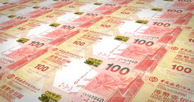 Banknotes of one hundred dollars of Hong Kong rolling, cash money, loop Animation