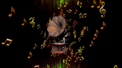 Music Notes with Gramophone by ACpixl Animation