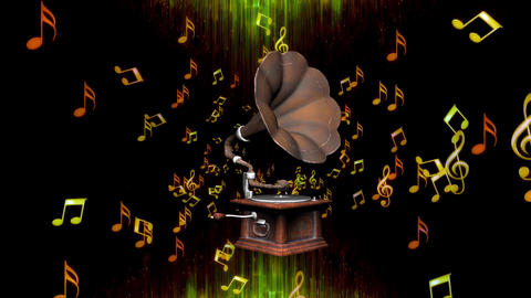Music Notes with Gramophone by ACpixl 스톡 비디오 클립, 영상 소스, 스톡 4K 영상