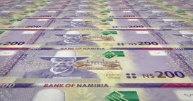 Banknotes of two hundred namibian dollar of Namibia, cash money, loop Animation