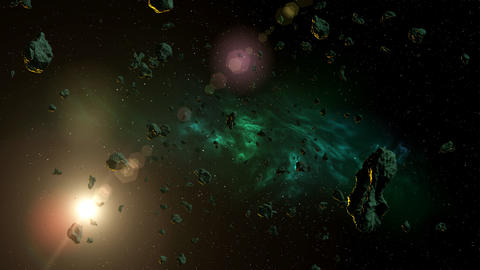 Asteroids in the Universe CG動画素材