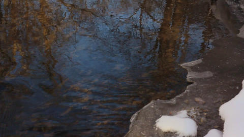 the spring stream with an edge of melting ice off shore Footage