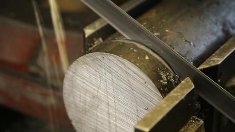 Saw cutting metal Footage