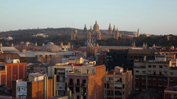 Montjuic hill and National Palace at nightfall, time lapse from rooftop Footage