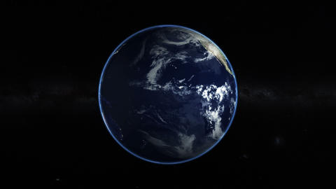 Planet Earth in space on galaxy background Footage