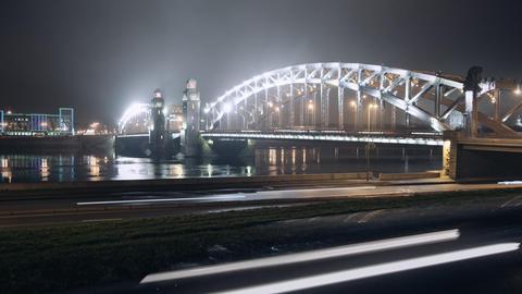 Night movement of machines on the bridge Footage