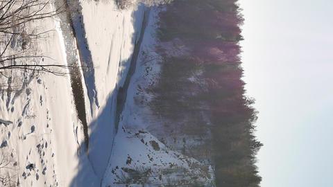 Vertical video. Winter landscape. Serga River, Ural, Russia Footage