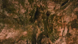 Close up tilt down ancient rock formation drapes on the wall of Saeva Cave, GIF